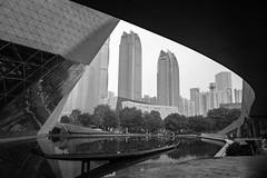 Guangzhou architecture. (Andy @ Pang Ket Vui ( shootx2 )) Tags: architecture guangzhou china opera hall city black white bw boat house fujifilm x100f library wide angle lens wclx100ii