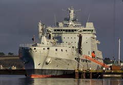 Royal Fleet Auxilary RFA Tideforce @ Falmouth Docks, Cornwall. (PoSm Photography) Tags: royal fleet auxilary rfa tideford falmouth docks cornwall ship sea navy boat military force docked berthed maintenance refit rmas blue sky cloud rain tideforce