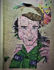 The man with the street art (roomman) Tags: 2019 amiens france street art streetart mural paint painting wall house man guy portrait face army green dress headphone speaker smile robin williams robinwilliams movie film good morning vietnam