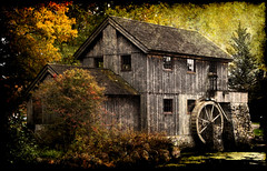 Mysterious Millhouse (LotusMoon Photography) Tags: sliderssunday architecture building mill waterwheel old historic house texture happysliderssunday hss rockford illinois mysterious mystical dreamlike dreamy dreamscapes dark ominous shadows shadow shadowy autumn fall farmhouse annasheradon lotusmoonphotography postprocessed processed filterforge filters manipulated creative artistic art millhouse grunge painterly