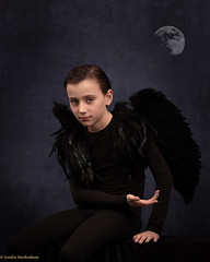 Dark angel (Sandra Sturkenboom) Tags: boy black angel moon art fineart