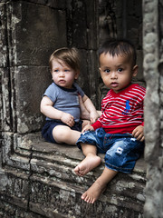 Angkor 02 (arsamie) Tags: angkor temple wat thom siem reap cambodia asia baby babies children kids portrait ruins white blond asian sit face style heritage legacy france friends frienship