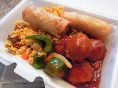 Yum! Contains gluten, MSG, artificial colors, artificial flavors, genetically modified ingredients, high fructose corn syrup, carrageenan gum, maltodextrin, dextrose, malic acid, autolyzed yeast extract and  lots of cholesterol. Like Grandma used to make. (wavz13) Tags: chinesefood asianfood friedrice pork porkmeatballs springrolls deepfried peppers onions tangyfood takeout takeaway greasy friedfood friedpeppers friedonions junkfood unhealthy foodphotography foodphotos foodscience foodingredients artificialcolors artificialflavors tasty grease delicious foodporn nongmolabels additives uglyfood