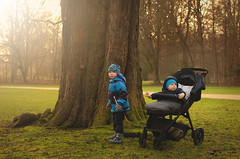 Two little brothers are in spring park watching the sunset (breamchub) Tags: beautiful boy brother child children cute family fun grass happy having joy kid kids lifestyle little nature outdoor outside park smile spring sunset together two white years young