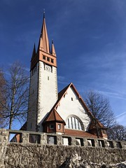1905 (Sibeal's world) Tags: wall tree sky spring blue white red architecture time clock tile brick church kirche