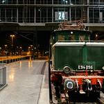 Antique German Reichsbahn green cargo locomotive front view thumbnail