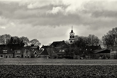 A Town Called Morra (Alfred Grupstra) Tags: blackandwhite church architecture history old buildingexterior christianity builtstructure oldfashioned religion cultures europe outdoors monochrome ruralscene sky nopeople town