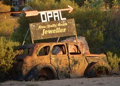 Classic Andamooka (mikecogh) Tags: andamooka opalmining classic sign wreck car jeweller arrow direction