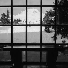 Picture in Picture (Aaron Bieleck) Tags: 500cm hasselblad film hasselblad500cm 120film analog 6x6 square filmisnotdead mediumformat wlvf fujiacros100 picturewindow window mthood timberlinelodge mountain bw blackandwhite 60mmct