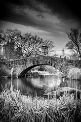 Gapstow Bridge, Central Park, NYC (broadswordcallingdannyboy) Tags: red mono bw city manhattan nyc ny newyork eos7d leonreillyphotography leonreilly copyright donotcopy mood atmosphere newyorkcity usa eastcoast americafuckyeah america bwcity light newyorkminute newyorkstateofmind newyorkmono nycinbw efs24mmf28stm centralpark gapstowbridge centralparkpond