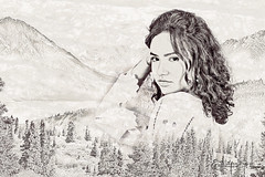 Spirit of the Mountains (SteveFrazierPhotography.com) Tags: mountains sketch drawing photoshop chrissy composite stevefrazierphotography photographer texture gradientmap portrait woman lady girl longhair valley wet trees beautiful monochrome digitalmanipulation photomanipulation artistic artistry lake river water pine woods woodlands model