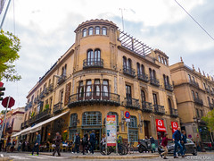 Street in Sevilla (✦ Erdinc Ulas Photography ✦) Tags: street seville sevilla spain city europe view house building people panasonic corner car road cafe travel lumix window balcony españa
