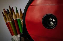 MM - Hole... (JMByahoo) Tags: mm hole macro macromondays pencils red sharpener color green metal mechanical holes