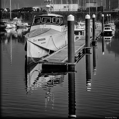 """On Refiection"" (Pensioner Percy) Tags: monochrome bw whitehaven england d750 water 24120mm reflections solwayfirth cumbria boats northwestengland nikon harbor port cumberland waveaccessvessel tenacity vessels marina ripples hazysun morning sunday dslr boardwalk distortion blackandwhite nikkor light sun acdsee"
