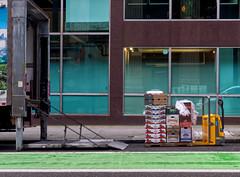 Unload the Groceries (Orbmiser) Tags: truck unloading ramp sidewalk cityscape olympus em1 mirrorless m43rds portand oregon mzuikoed1240mmf28pro