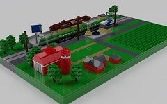 Rural Train Station (ABS Shipyards) Tags: lego micro train station farm barn field diorama architecture