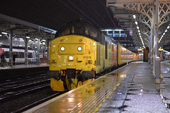 Colas Loco 37219 top n tail with 37116 on a Network Rail Track Measurement Train, from Cambridge to Cambridge, via East Anglia, after reversing at a very wet Ipswich. 08 03 2019 (pnb511) Tags: electric overhead cable ohc catenary traction loco locomotive diesel engine class37 trains railway ipswich greateasternmainline geml colas rail freight track station platform infrastructure networkrail night wet reflections lights