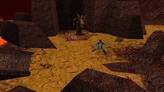 Besieging The Basilisk (Platemail) (BarricadeCaptures) Tags: kingsquest kingsquestmaskofeternity maskofeternity thebarrenregion barrenregion lava connorofdaventry connor chainmail platemail basilisk rocks gamescreenshots gamephotography videogame screencapture screenshot