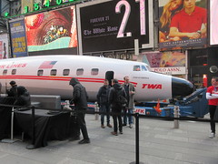 2019 Celebration of Retro TWA Hotel - Wingless Plane Times Square 4492 (Brechtbug) Tags: 2019 celebration retro twa hotel brooklyn wingless 1958 lockheed constellation connie l1649a starliner airplane visits times square before heading trans world airlines new yorks john f kennedy international airport known york anderson field commonly idlewild city march 23rd nyc 02232019