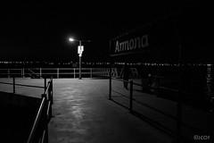 Armona, embarcadero. (jcof) Tags: armona portugal embarcadero farola cartel noche night nocturna blancoynegro blackandwhite olhao algarve