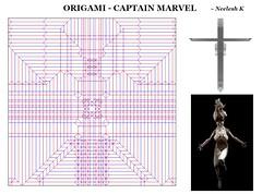 ORIGAMI - CAPTAIN MARVEL CP (Neelesh K) Tags: origami captain marvel female character tracing paper folding 48 grids boxpleating neeleshk