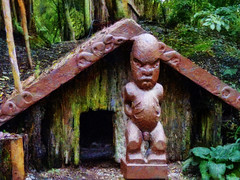 The Maori Village (Steve Taylor (Photography)) Tags: maori village camp architecture building house brown green sculpture carving wooden man willowbankwildlifereserve