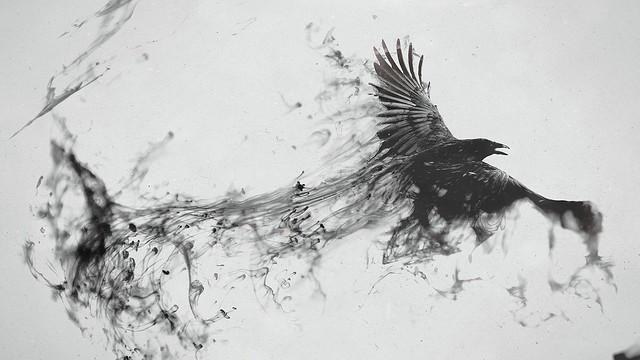 Обои ворон, птица, полет, дым, чб картинки на рабочий стол, фото скачать бесплатно
