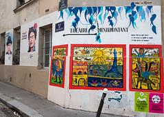 Rue du Retrait Paris 20e (michel bourgouin) Tags: paris 20e ménilmontant fridakahlo théâtre pochoirs canoneos6d2 magritte streetart ratrait