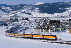 Ski Train departing Fraser (Moffat Road) Tags: riograndeskitrain passengertrain skitrain ansco fraser colorado snow emd f40ph 242 upmoffattunnelsub formerriogrande train railroad locomotive co