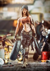 Harley 2 (Mr Action Figure) Tags: 16 16scale phicen tbleague seamless seamlessfigure female femalefigure biker repair motorcycle tires greasy dirty harleydavidson boots leather brunette hat sex garage shop tools tanktop hottoys verycooltoys doll