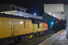 After pausing at Woodbridge, for the single line 'electronic token', the Network Rail Meaasurement train gets a green light to proceed. Colas Rail 37521 top n tail with 37099 at Woodbridge. 11 01 2019 (pnb511) Tags: eastsuffolkline woodbridge suffolk colas train class37 diesel locomotive railway rurallandscape networkrail station awning platform night dark lights loco