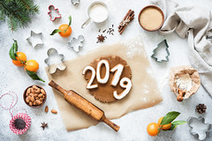 Happy New Year 2019! (Arx0nt.) Tags: christmas newyear background cookie cooking top view still life winter season cutter baking tangerine dough domestic cozy flour spices gingerbread almond flat lay home