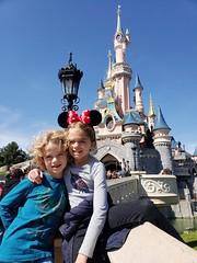 The Kids And Sleeping Beauty Castle (Joe Shlabotnik) Tags: disneylandparis castle disneyland paris cameraphone april2018 france disney everett sleepingbeautycastle violet galaxys9 2018 eurodisney