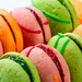 Close up colorful macarons dessert