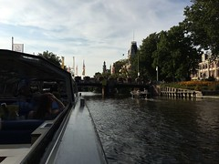 Amsterdam (Alejandra Oonagh) Tags: amsterdam city river canal boat travel tourism trees green water blue sky grey gray house houses