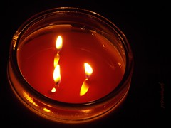3 Wick Candle (Tricia H C) Tags: candle candlelight flame orange light