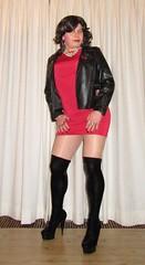showing my favorite red minidress for valentine (Barb78ara) Tags: littledress littlereddress lrd tightlrd tightreddress leatherjacket boots velvetboots stilettoheels stilettohighheels stilettoboots highheelboots stilettohighheelboots nylon pantyhose tannylon tanpantyhose