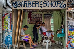 Barber Shop (Beegee49) Tags: street barber shop haircut waiting city sitting cutting hair happy planet luminar sony a6000 bacolod philippines asia happyplanet asiafavorites