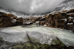 Ice-land (Pete Rowbottom, Wigan, UK) Tags: scotland 2019 new peterowbottom fairypools ice snow mountains remote wilderness isleofskye skye icebergs icesheets frozen cold freezing moody landscape nikond810 wideangle waterfall water heather sky dramatic beauty nature highlandsofscotland highland wild extreme cuillin
