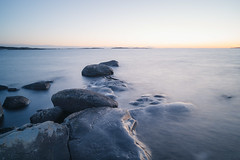 DSC_1087-5 (jurgita_zuk) Tags: evening sunset water longexposure stones sea ocean gothenburg sweden sverige