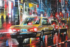 Street art, Central, Hong Kong (Thierry Hoppe) Tags: streetart central hongkong wall mural painting art cab dark night