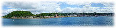 Sea view to Oban (Szemeredi Photos/ clevernails) Tags: scotland oban sea town harbour holiday summer buliding seaside beach ferry memory sky clouds beautiful travel love argyll ganavanbay panorama frame church hotels esplanade mccaigstower buoy yellow wildeangle island