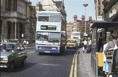 Lichfield Street, Wolverhampton, 1984 (Lady Wulfrun) Tags: 2215 wmpte lichfieldstreet wolverhampton july 1984 wmccpeaceyear livery gog215w fordfiestamk1 metrobus mcw bus stop shelter abacus