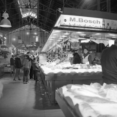 Fish stall, La Boqueria market, Barcelona, 2018. Film 94008 (richardhunter3) Tags: boqueria barcelona street market yashica 635 tlr ilford hp5 pushed xtol black white film people stalls spain ice fish