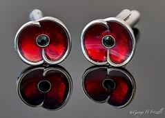 Cufflinks (toonarmy59) Tags: macromondays jewellery jewelry cufflinks poppy reflections boke indoorphotography allrightsreserved©