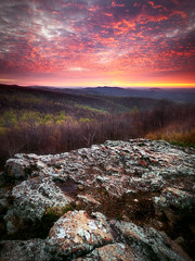 Lava Sky Over Indian Run Overlook (Vladimir Grablev) Tags: rock nature dawn hills background early morning contrast virginia scenic sky distant view usa landscape cloudy nationalpark mountains formation appalachian sun shenandoah colorful serenity beautiful bright dark travel skylinedrive sunrise park foreground shadows panorama national huntly unitedstates us