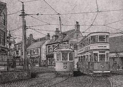 Beamish Museum (KS Railway Gallery) Tags: beamish museum trams town bw photoshop pencil sketch