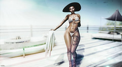 Are you missing something? (Dawn Marley) Tags: beach hat towel bikini girl secondlife sl summer tattoos lavie zarakent