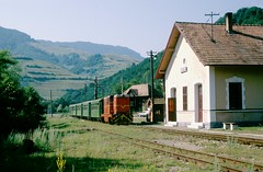 CFR narrow gauge Turda-Abrud: 87-0039 with Mixt3922 arrives Ocolisel (Felsőaklos), 14-07-1995 (Paul-760) Tags: cfr turdaabrud narrow gauge schmalspur kisvasút torda abrud topánfalva 760mm aranyostalerkleinbahn siebenbürgen erdély transsylvania l45h faur