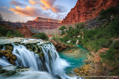 Havasupai Splendor (David Swindler (ActionPhotoTours.com)) Tags: arizona grandcanyon havasu havasucreek havasupai newnavajofalls sunset waterfall waterfalls